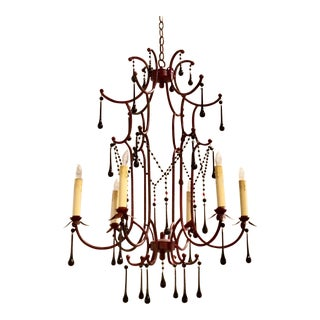 Asian Style Arteriors Red Pagoda Chandelier For Sale