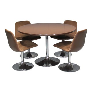 Chrome Tulip Table and Four Dining Chairs by Borje Johanson- Set of 4 For Sale