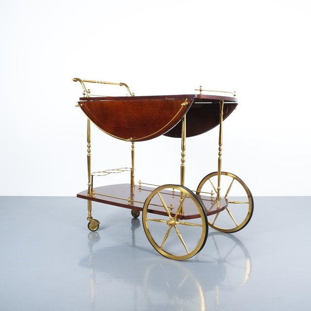 Mid-Century Modern Aldo Tura Adjustable Brown Parchment Brass Bar Cart, 1960 For Sale - Image 3 of 13