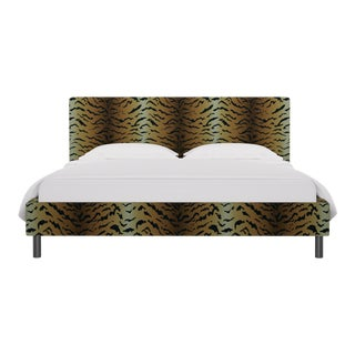 California King Tailored Platform Bed In Tawny Tiger By Old World Weavers For Sale