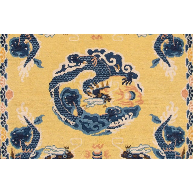 Vintage Yellow Dragon Peking Chinese Wool Rug 5 Ft 2 in X 6 Ft 7 In. For Sale - Image 4 of 6