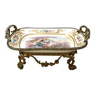 Antique Sevres Hand Painted and Gilt Pictorial Porcelain and Ormolu Centerpiece For Sale