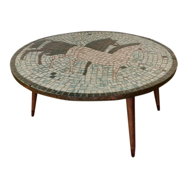 Mid Century Modern Mosaic Tiled Coffee Table For Sale