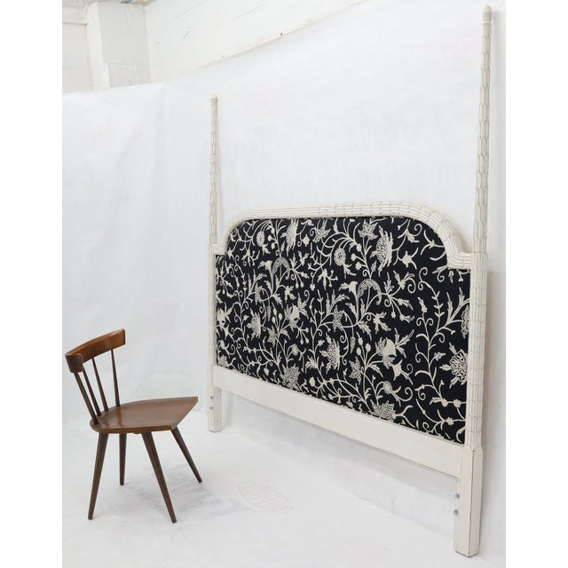Upholstered Decorative Black and White Fabric King Size Poster Headboard For Sale - Image 11 of 12
