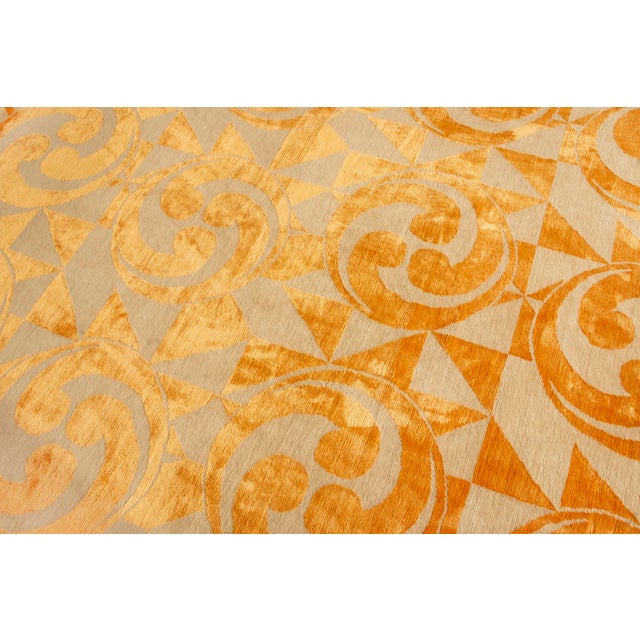 "Rug & Kilim Contemporary Hand Knotted Golden ""Kaleidoscope"" Rug For Sale - Image 4 of 11"