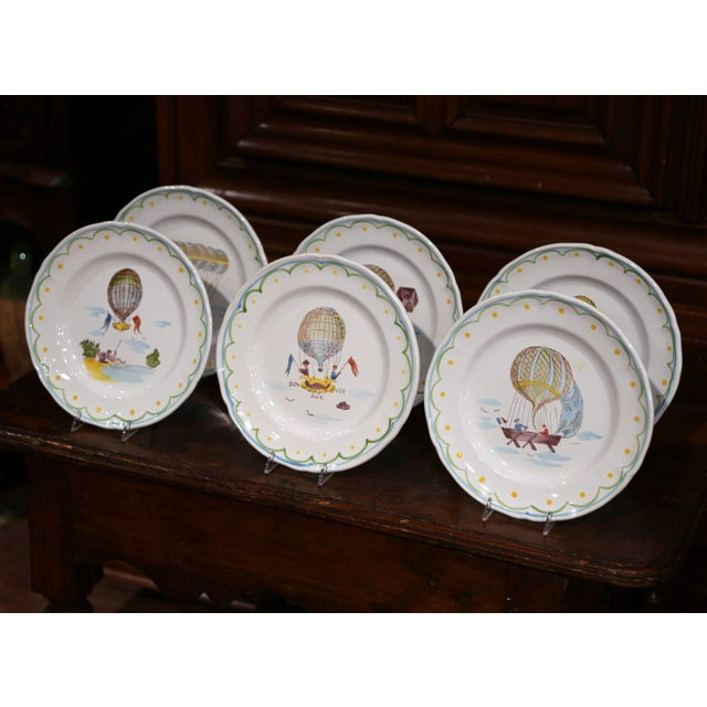Early 21st Century Set of Six French Hand-Painted Ceramic Hot Air Balloon Plates From Brittany For Sale - Image 5 of 13
