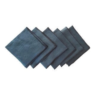 Blue Green Linen Napkins With Black Overlock Edges - Set of 6 For Sale