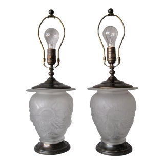 Pair of Frosted Lalique Style Glass Lamps For Sale