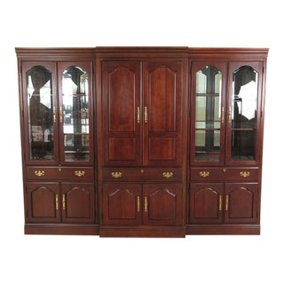 American Drew Beveled Glass Cherry Entertainment Curio Cabinet