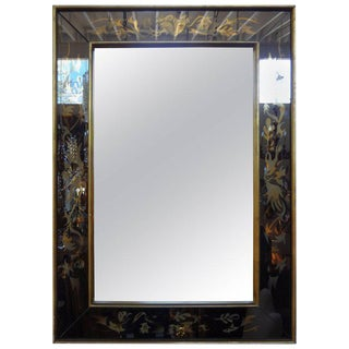 1940's French Maison Jansen Style Eglomise Mirror For Sale