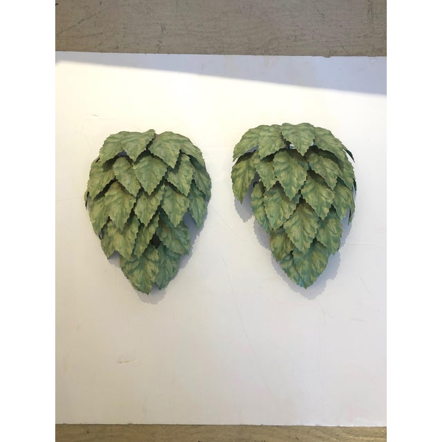 Leaf Motif Green Tole Wall Sconces- a Pair For Sale - Image 9 of 9