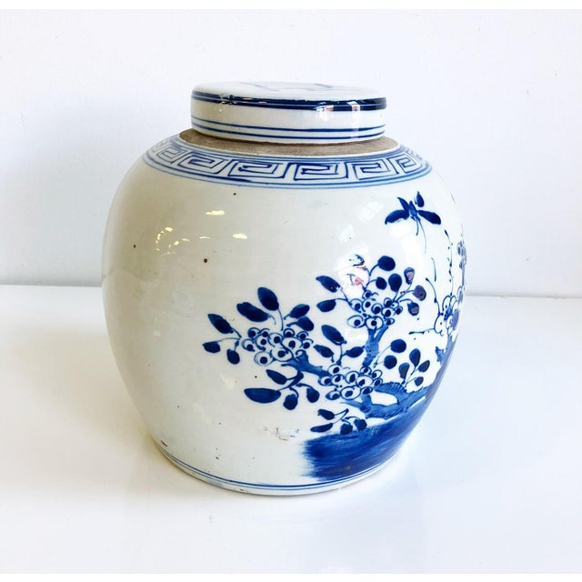 Asian Blue & White Chinoiserie Ginger Jar With Lid Bird in Flowering Tree Design Scene For Sale - Image 3 of 7