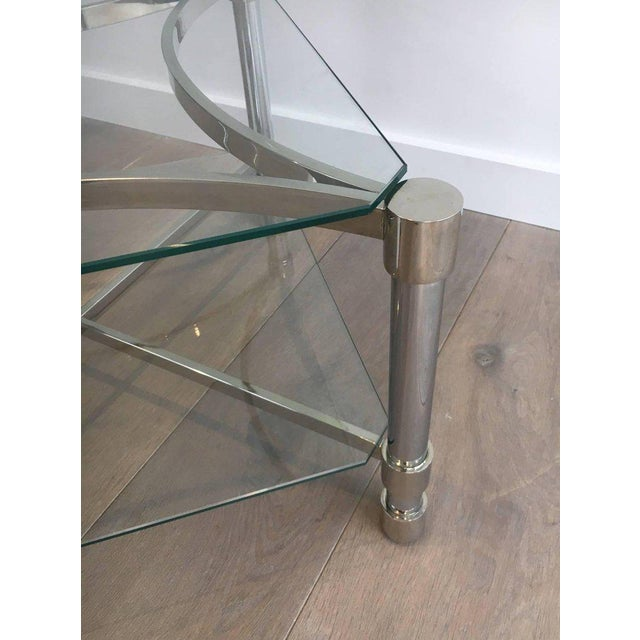 Silver Pair of Double-tiered Chrome Side Tables For Sale - Image 8 of 11