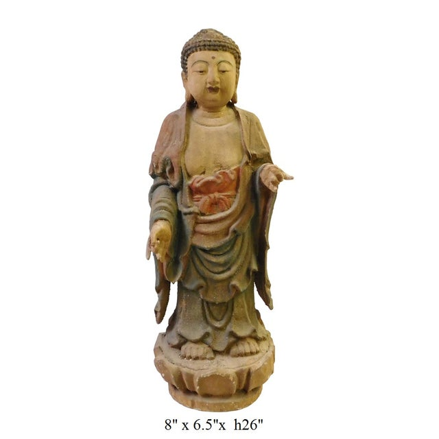 Chinese Rustic Wood Standing Buddha Statue - Image 8 of 8