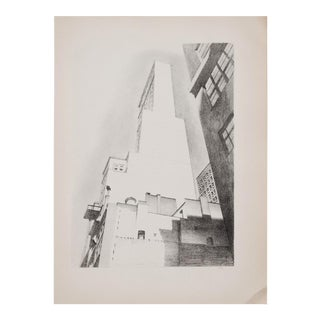 "1930s Manhattan Lithograph ""Delmonico Building"" by Charles Sheller"