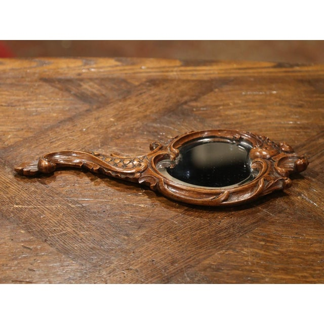 French 19th Century French Black Forest Carved Walnut Hand Mirror With Beveled Glass For Sale - Image 3 of 8