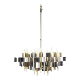 Gaetano Sciolari Chandelier in Brass, Chrome and Lucite, Italy, 1960s