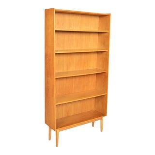 Danish Modern Narrow Oak Bookcase For Sale