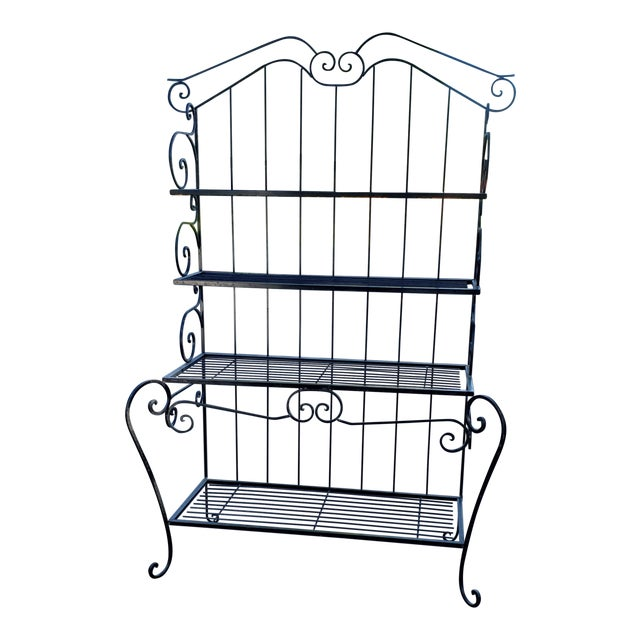 Mid 20th Century Black Wrought Iron Bakers Rack For Sale