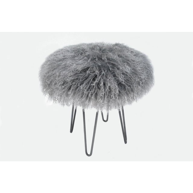 Modern Curly Hairpin Stool Tipped Grey For Sale - Image 3 of 3