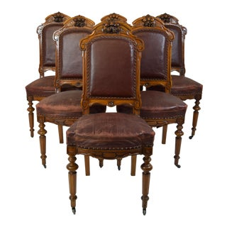 Mid 19th-Century Walnut Dining Chairs-Set of Six (6) For Sale
