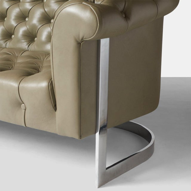 Modern Milo Baughman Modern Chesterfield Sofa For Sale - Image 3 of 8