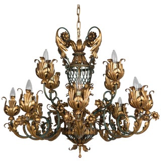 French 1940s Parcel-Gilt Chandelier For Sale