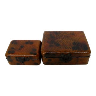 Faux Hide Nesting Boxes, Set of 2 For Sale