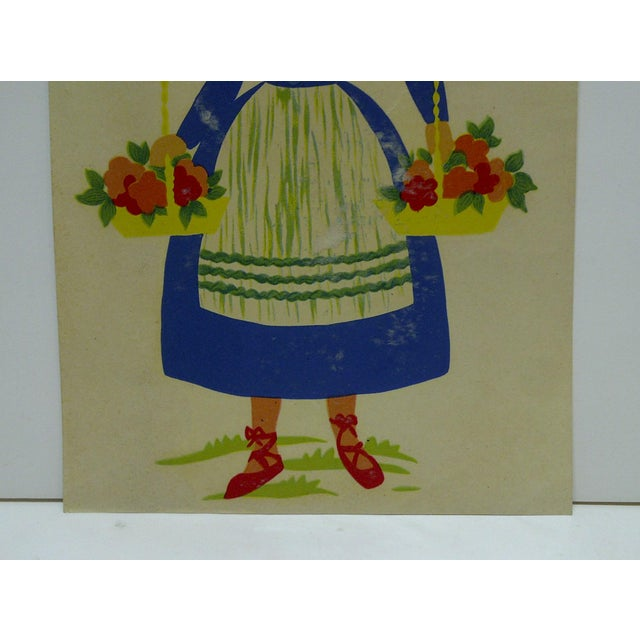 The Meyercord Co. Chicago Flower Girl Decal / Wall Decoration For Sale - Image 4 of 6