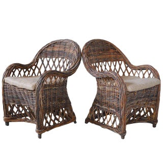 Pair of Bar Harbor Style Woven Rattan Armchairs