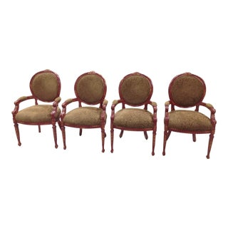 1990s Vintage Louis XVI Style Suede Back Arm Chairs - Set of 4 For Sale