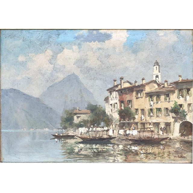Antique Framed Oil Painting on Canvas is a superlative seaside scene where the artist has skillfully represented a...