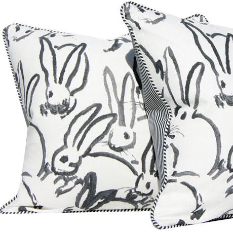 Children's Lee Jofa for Groundworks Bunny Fabric Decorative Pillow For Sale - Image 3 of 6