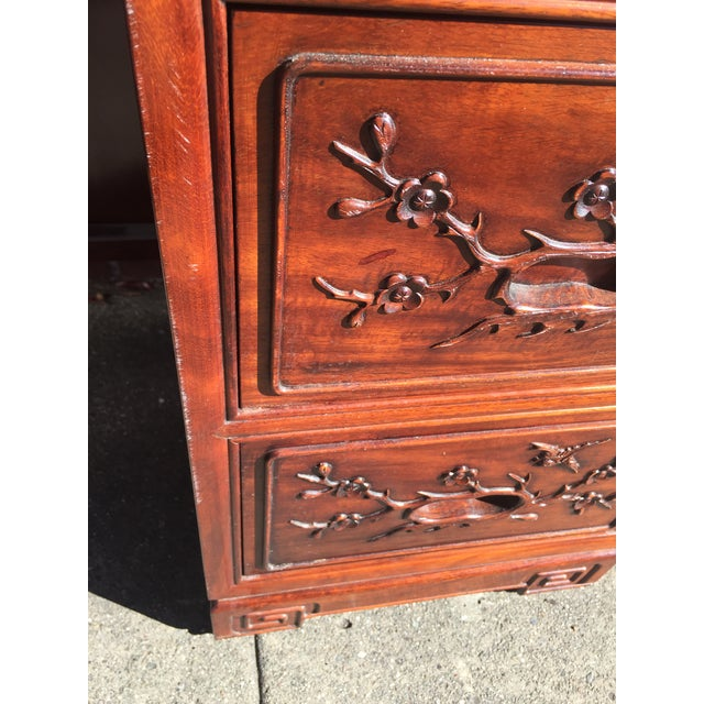 Carved Chinese Rosewood Vanity Dresser with Mirror For Sale - Image 9 of 11