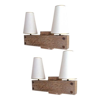 Charles Dudouyt Rare Pair of Stamped Cerused Oak Sconces For Sale