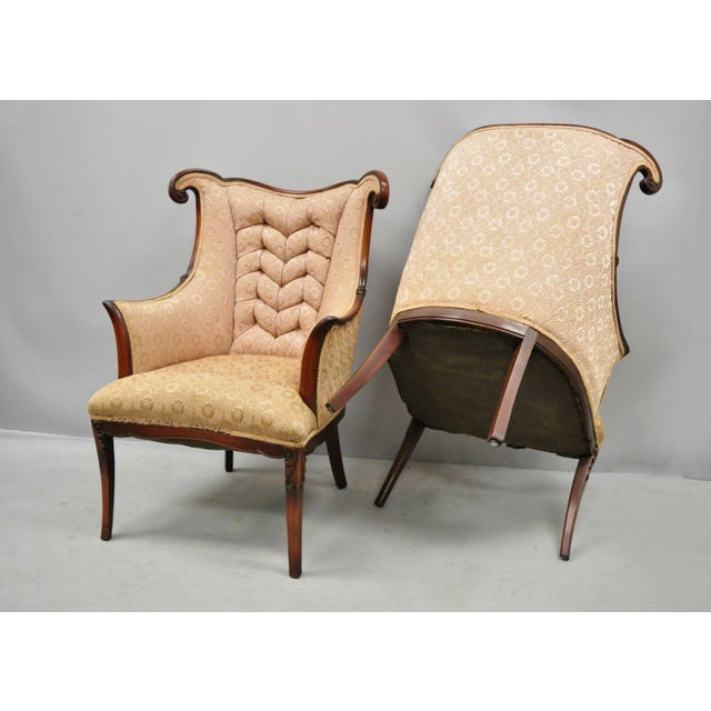 Early 20th Century Vintage Hollywood Regency French Style Mahogany Armchairs- A Pair For Sale - Image 12 of 13
