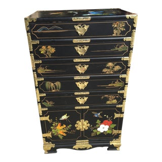 Hand Painted Chinese Chinoiserie Jewelry Chest