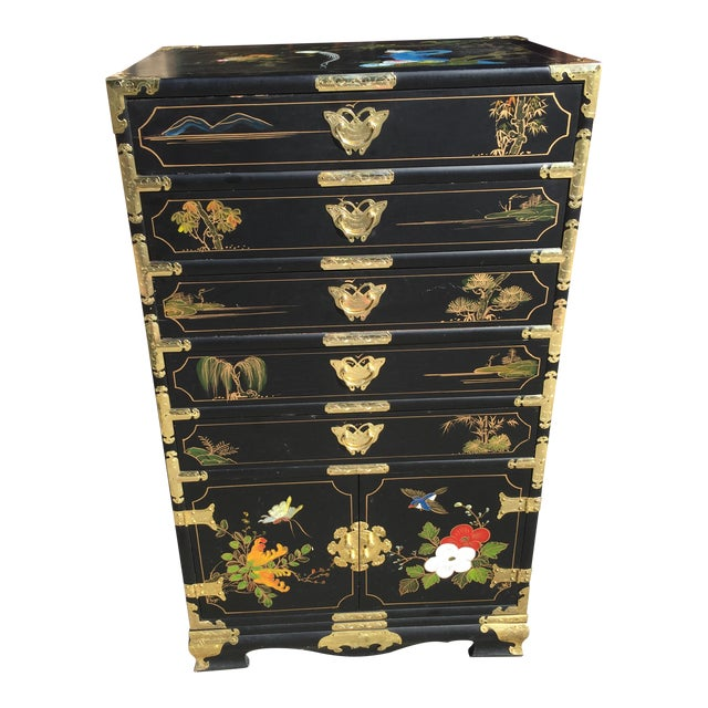 Hand Painted Chinese Chinoiserie Jewelry Chest For Sale