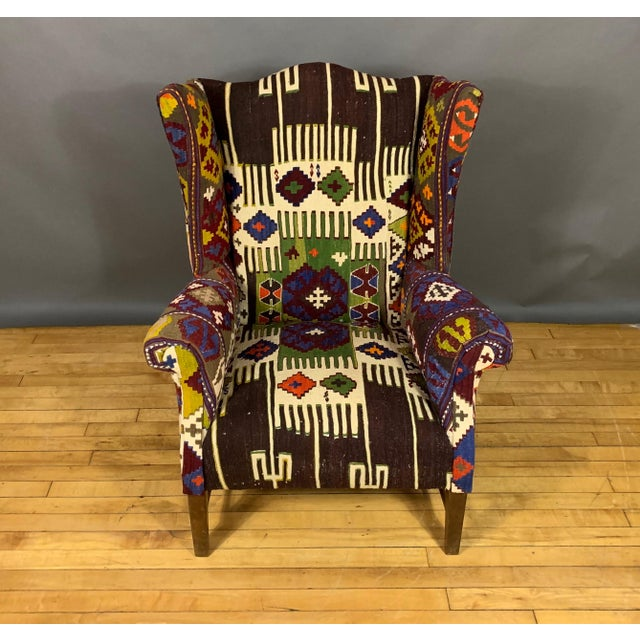 1940s Danish Wingchair, Semi-Antique Turkish Kilim Cover For Sale - Image 11 of 12