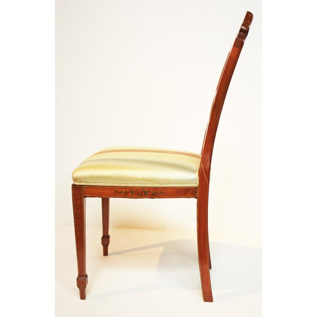 Pair of Painted Edwardian Satinwood Shield Back Chairs For Sale In Dallas - Image 6 of 9