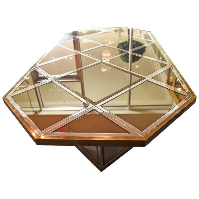 Mid Century Modern Italian Romeo Rega Brass, Chrome, Glass & Mirror Dining Table / Desk - Image 2 of 5