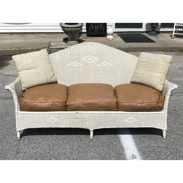 Vintage Heywood Wakefield Wicker Settee with Pillows For Sale - Image 12 of 12