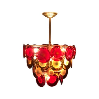 Vistosi Murano 4 Tier Red & Amber Disc Chandelier For Sale