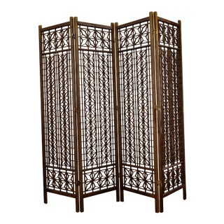 Mid Century Modern Teak Folding Screen/Room Divider For Sale
