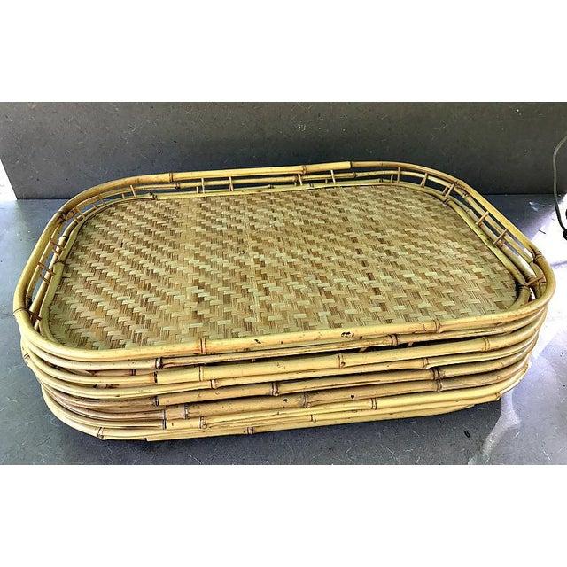 Vintage Boho Bamboo Serving Trays - Set of 6 - Image 2 of 4