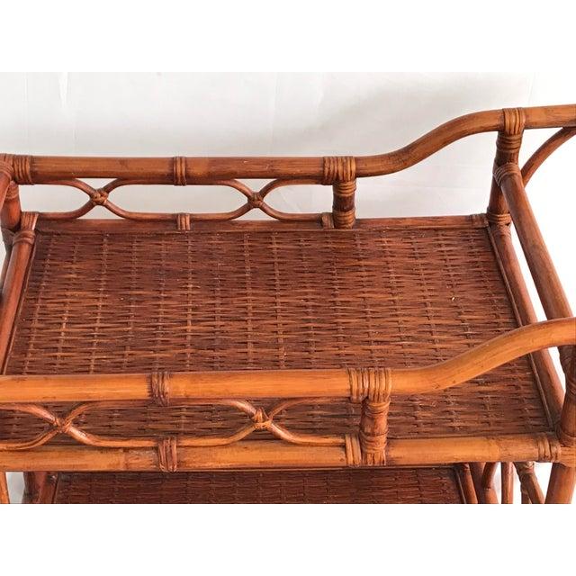 Metal Vintage Rattan Bamboo Bar Cart For Sale - Image 7 of 10