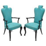 Image of Black Lacquer and Turquoise Armchair - a Pair For Sale