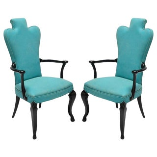 Black Lacquer and Turquoise Armchair - a Pair For Sale