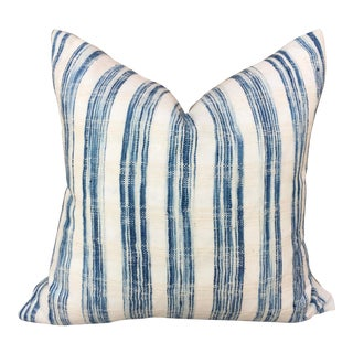 Blue & White Striped Handwoven Pillow For Sale