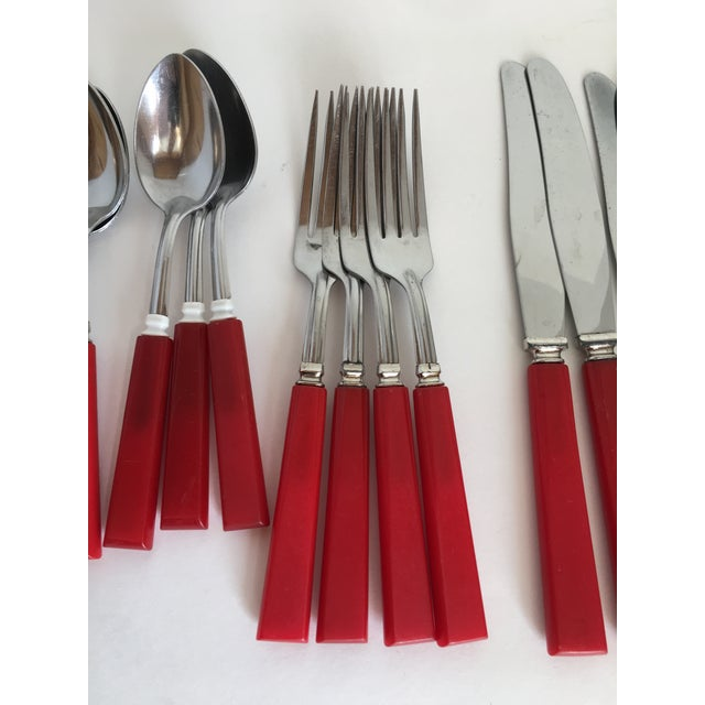 Art Deco Mid Century Red Bakelight Silverware Collection For Sale - Image 3 of 9
